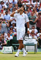 Novak Djokovic of Serbia celebrates after winning his Gentlemens Singles Fourth Round match against Kevin Anderson of South Africa during day eight of the Wimbledon Lawn Tennis Championships at the All England Lawn Tennis and Croquet Club on July 7, 2015 in London, England.