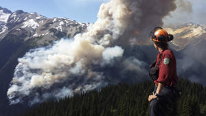 A firefighter looks at the Boulder Creek forest fire near Pemberton, British Columbia, July 3, 2015.