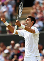 Novak Djokovic of Serbia reacts after winning his Fourth Round match against Kevin Anderson of South Africa at the Wimbledon on July 7, 2015 in London, England.