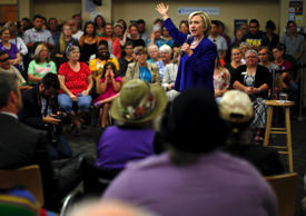 Democratic presidential candidate Hillary Clinton speaks at a campaign event in Iowa City, Iowa on July 7, 2015.