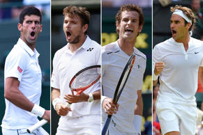 (From left) Novak Djokovic, Stanislas Wawrinka, Andy Murray and Roger Federer compete during the 2015 Wimbledon Tennis Championships in London. Shaun Botterill/Getty Images; Julian Finney/Getty Images; Toby Melville/Reuters; Glyn Kirk/AFP/Getty Images