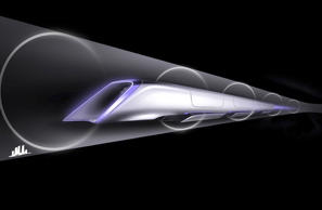 An image released by Tesla Motors, is a conceptual design rendering of the Hyperloop passenger transport capsule. Billionaire entrepreneur Elon Musk on Monday, Aug. 12, 2013 unveiled a concept for a transport system he says would make the nearly 400-mile trip in half the time it takes an airplane.