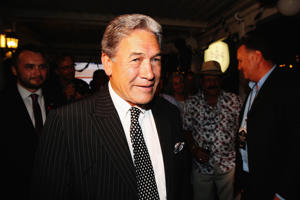 File photo: New Zealand First party leader Winston Peters is congratulated by supporters at The Duke Of Marlborough Hotel on March 28, 2015 in Russell.