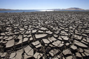Low water levels at the San Luis Reservoir, Los Banos, California. REX Features