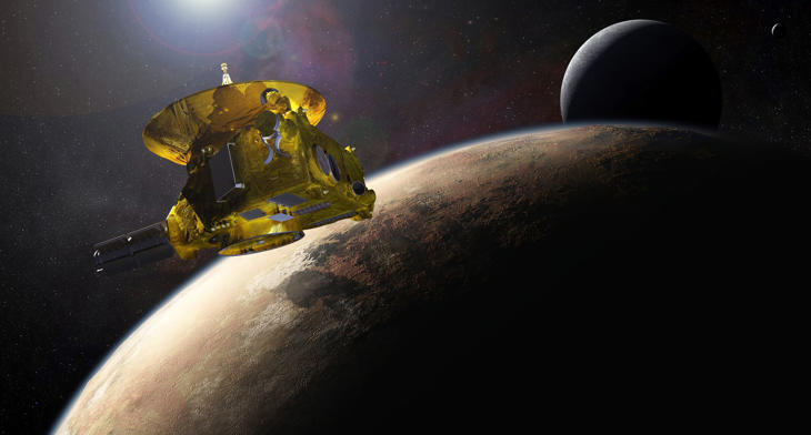 An artists impression of NASAs New Horizons spacecraft encountering Pluto and its largest moon, Charon, is seen in this NASA image from July 2015.