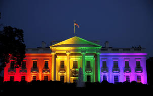 The White House is illuminated in rainbow colors after today's historic Supreme Court ruling legalizing gay marriage in Washington June 26, 2015.