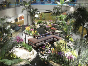 Garden at Changi Airport's T2 where Green Market airport lounge is located.