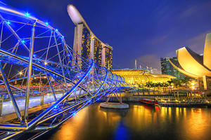 Marina Bay Sands and the Helix Bridge.
