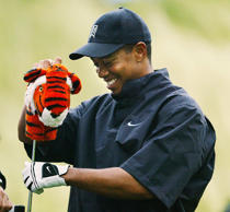Tiger Woods pulls the tiger club cover off of his driver during the 102nd US Open Championship 14 June, 2002 at Bethpage State Park in Farmingdale, N.Y.
