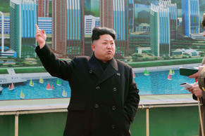 Kim Jong Un inspects the construction of the Mirae Scientists Street on Feb. 15 in Pyongyang.