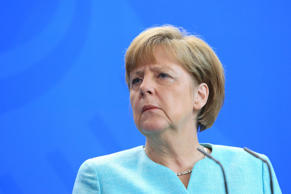 Angela Merkel, Germany's chancellor, looks on during a news conference with Isa Mustafa, Kosovo's prime minister, at the Chancellery in Berlin, Germany, on Tuesday, June 30, 2015.