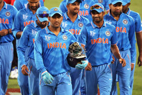 MS Dhoni of India leads the team off the field after the 2015 ICC Cricket World Cup warm up match between India and Afghanistan at Adelaide Oval on February 10, 2015 in Adelaide, Australia.