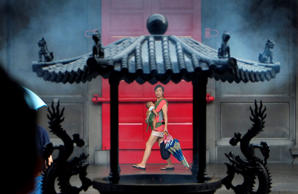A mother walks with her child in the Xingtian Temple in Taipei, Taiwan.