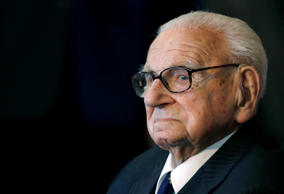 File: A Tuesday, Oct. 28, 2014 photo from files of the then 105 year-old Sir Nicholas Winton waiting to be decorated with the highest Czech Republic's decoration, The Order of the White Lion at the Prague Castle in Prague, Czech Republic