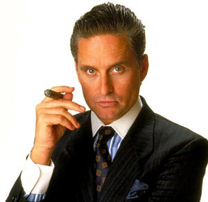 Michael Douglas in a still from Wall Street.