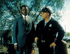 Sidney Poitier (left) and Rod Steiger in a still from In the Heat of the Night.
