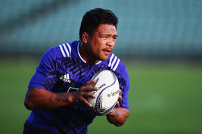 Keven Mealamu of the All Blacks runs through drills during a New Zealand All Blacks training session on June 26, 2015 in Auckland, New Zealand.