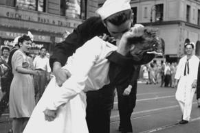 The famous kiss, captured from a slightly different angle. This one includes nurse Gloria Bullard in the background. Lt. Victor Jorgensen/U.S. Navy photograph/National Archives