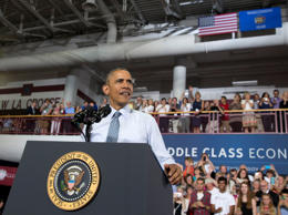 President Barack Obama pauses as he speaks at the University of Wisconsin at La Crosse, in La Crosse, Wis., Thursday, July 2, 2015, about the economy and to promote a proposed Labor Department rule that would make more workers eligible for overtime. A Wisconsin man is being detained in a mental health facility after authorities say he told a security guard he planned to kill President Barack Obama.