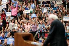 Democratic presidential candidate Sen. Bernie Sanders speaks during a political rally at the Veterans Memorial Coliseum at Alliant Energy Center in Madison, Wis., Wednesday, July 1, 2015.