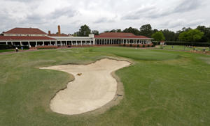 In this April 14, 2014 photo, the 18th green is seen at Pinehurst Resort & Country Club's Course No. 2 in Pinehurst, N.C.