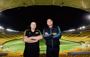 Head coach of the Hurricanes Chris Boyd (L) with head coach of the Highlanders Jamie Joseph at Westpac Stadium on July 3, 2015 in Wellington, New Zealand.