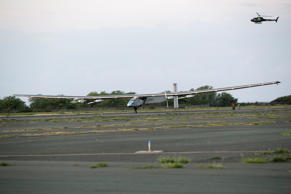 The Solar Impulse 2, a solar-powered airplane, lands at the Kalaeloa Airport, Friday, July 3, 2015 in Kapolei, HI.