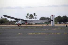The Solar Impulse 2, a solar-powered airplane, lands at the Kalaeloa Airport, Friday, July 3, 2015 in Kapolei, Hawaii.