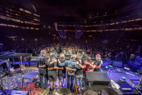From left, Bruce Hornsby, Jeff Chimenti, Bob Weir, Phil Lesh, Trey Anastasio, Mickey Hart and Bill Kreutzmann at the end of the Grateful Dead's Fare Thee Well concert Sunday at Levi's Stadium in Santa Clara, Calif.