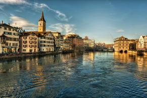 Switzerland, Zurich, View of river and old town. RooM/Getty Images