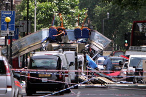 The remnants of a bus that exploded near Tavistock Square, in central London, Thursday July 7, 2005. Jane Mingay/AP