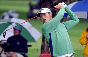 Danny Lee tees off from the ninth hole during the second round of the Greenbrier Classic golf tournament.