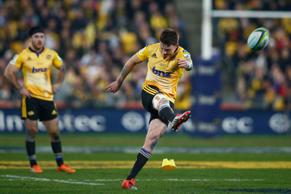 Beauden Barrett of the Hurricanes kicks during the Super Rugby Final match against the Highlanders.
