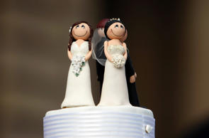 Two bride figurines adorn the top of a wedding cake during an illegal same-sex wedding ceremony in central Melbourne, August 1, 2009.