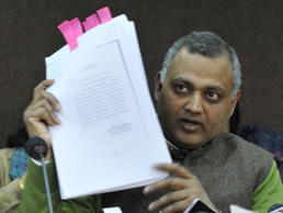 File: Delhi Law Minister Somnath Bharti addressing the press conference on CD fraud issue of his client at Delhi Secretariat on January 14, 2014 in New Delhi, India.