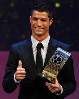 Cristiano Ronaldo of Portugal holds the FIFA World Player 2008 award during the FIFA World Player of the Year soccer awards ceremony in Zurich January 12, 2009.