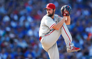 Cole Hamels #35 of the Philadelphia Phillies pitches during his no-hitter against the Chicago Cubs at Wrigley Field on July 25, 2015 in Chicago, Illinois. The Phillies defeated the Cubs 5-0.