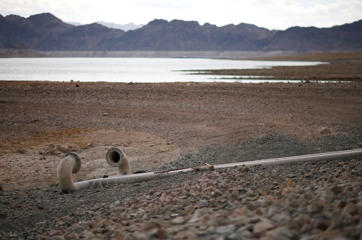 Water intake pipes that were once underwater sit above the water line along Lake Mead in the Lake Mead National Recreation Area, Monday, May 18, 2015, near Boulder City, Nev.