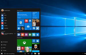 The Start menu on new Windows 10