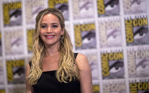 "Jennifer Lawrence poses at a press line for ""The Hunger Games: Mockingjay - Part 2"" during the 2015 Comic-Con International Convention in San Diego, California, July 9, 2015."