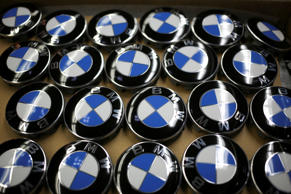Bayerische Motoren Werke AG (BMW) roundel logos are seen before being attached to wheel rims at the BMW Manufacturing Co. assembly plant in Greer, South Carolina, U.S. on Thursday, May 28, 2015. The Institute for Supply Management (ISM) is scheduled to release U.S. manufacturing figures on June 1. Photographer: Luke Sharrett/Bloomberg