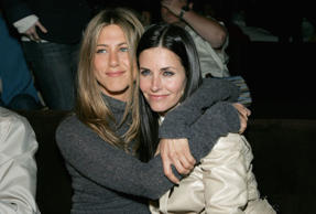 Actors Jennifer Aniston and Courteney Cox attend the after party at the L.A. premiere for 'The Tripper' held at the Hollywood Forever Cemetary on April 11, 2007 in Los Angeles, California.