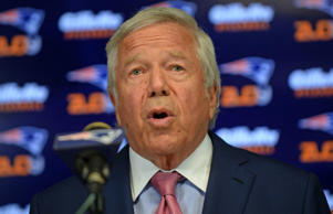 New England Patriots owner Robert Kraft speaks at a press conference at Gillette Stadium July 29, 2015 in Foxborough, Massachusetts. Kraft addressed NFL Commissioner Roger Goodell's decision to uphold a four game suspension for quarterback Tom Brady for his role in using underinflated balls in the AFC Championship game in 2014.