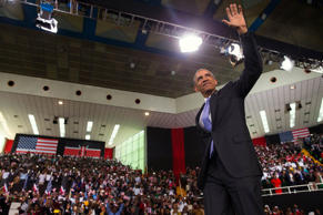 President Barack Obama waves as he arrives to deliver a speech at Safaricom Indoor Arena, Sunday, July 26, 2015, in Nairobi.