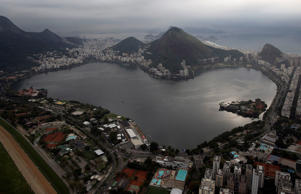 This July 27, 2015 aerial photo shows the Rodrigo de Freitas Lake in Rio de Janeiro, Brazil. An Associated Press analysis of water quality found dangerously high levels of viruses and bacteria from human sewage in Olympic and Paralympic venues. The Rodrigo de Freitas Lake, which was largely cleaned up in recent years, was thought be safe for rowers and canoers. Yet AP tests found its waters to be among the most polluted for Olympic sites.