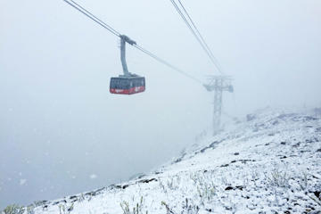 This July 27 photo provided by Jackson Hole Mountain Resort shows high-elevation snowfall during a cold front at Jackson Hole Mountain Resort in Teton County, Wyoming.