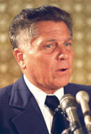 FILE - In this June 3, 1974 file photograph, teamsters president Jimmy Hoffa is shown in Washington. The Teamsters leader was last seen in July 1975 at a restaurant in Oakland County's Bloomfield Township in Michigan. Federal agents revived the hunt for the remains of Jimmy Hoffa on Monday June 17, 2013, digging around in a suburban Detroit field where a reputed Mafia captain says the Teamsters boss' body was buried.