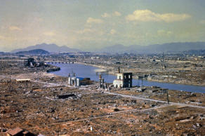 World War Two destruction after the atomic bomb was dropped on Hiroshima, 1945.