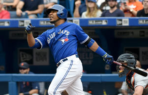 Toronto Blue Jays designated hitter Edwin Encarnacion had three home runs and nine RBIs in the Jays' 15-1 victory over the Detroit Tigers Aug. 29 in Toronto.