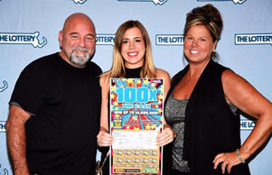 Timothy Sullivan, a $4 million lottery winner, with his daughter and his new wife, Tanya. MASSACHUSETTS STATE LOTTERY